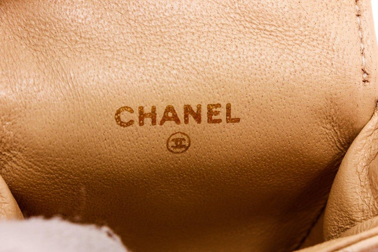 Chanel Beige Leather CC Mademoiselle Mini Flap Charm Key Ring In Excellent Condition For Sale In Irvine, CA