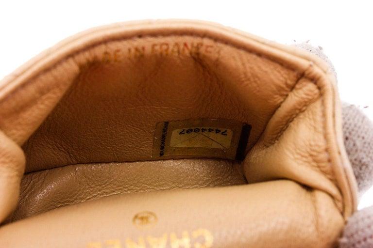 Women's Chanel Beige Leather CC Mademoiselle Mini Flap Charm Key Ring For Sale
