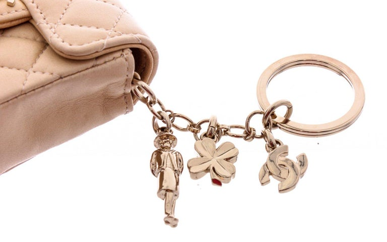 Chanel Beige Leather CC Mademoiselle Mini Flap Charm Key Ring For Sale 2