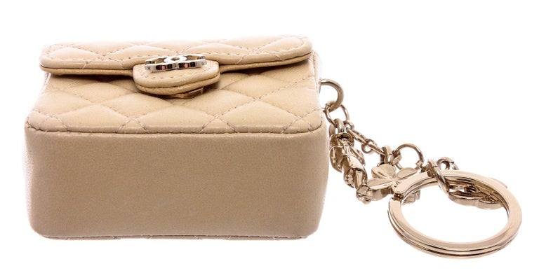 Chanel Beige Leather CC Mademoiselle Mini Flap Charm Key Ring For Sale 3