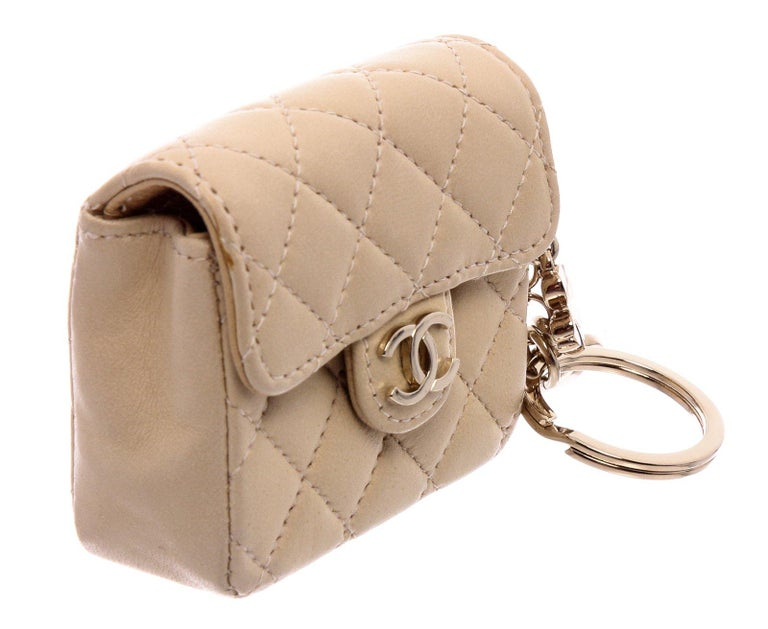 Chanel Beige Leather CC Mademoiselle Mini Flap Charm Key Ring For Sale 4