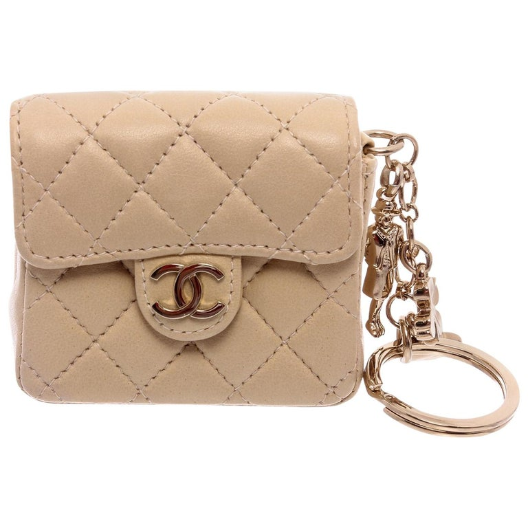 Chanel Beige Leather CC Mademoiselle Mini Flap Charm Key Ring For Sale