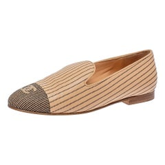 Chanel Beige Leather CC Smoking Slippers Size 37