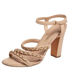 Chanel Beige Leather Chain Detail Ankle Strap Sandals Size 38