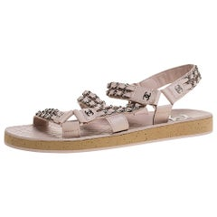 Chanel Beige Leather Chain Embellished Ankle Strap Flat Sandals Size 40