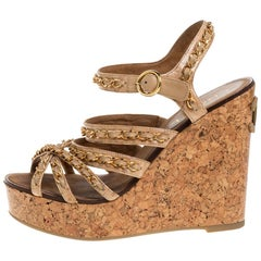 Chanel Beige Leather Chain Link CC Wedge Ankle Strap Sandals Size 38