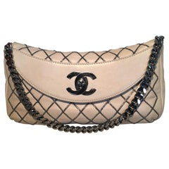 Chanel Beige Leather Chain Stitch Classic Flap Shoulder Bag