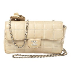 Chanel Beige Leather Chocolate Bar Camellia Mini Flap Bag