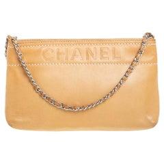 Chanel Beige Leather LAX Pochette Clutch Bag