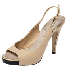Chanel Beige Leather Open Toe Platform CC Slingback Sandals Size 38