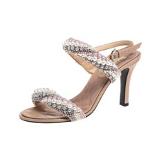 Chanel Beige Leather Pearl Strap Sandals Size 39