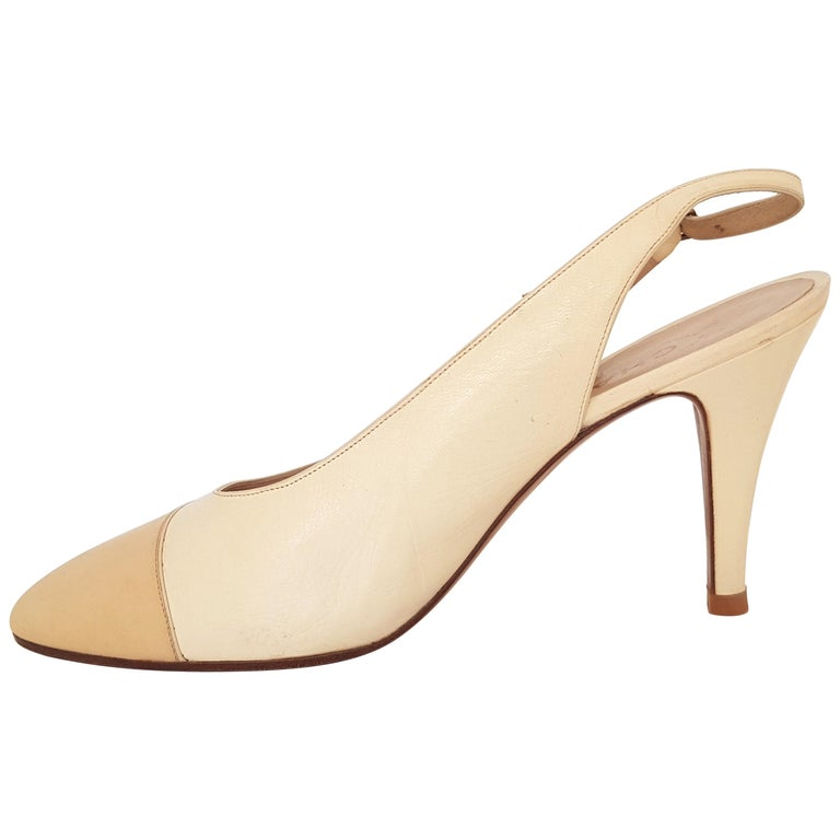 75cdb4b6ea9 Chanel Beige Leather Slingback Heels. Great conditions. Size 40 For Sale