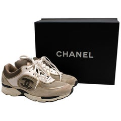 Chanel Beige Leather, Suede & Mesh CC Trainers - Size 37.5
