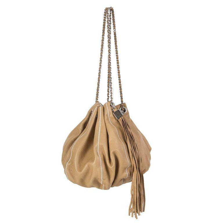 059354199c2d Chanel 'Reversible Tassel Small Bucket' bag in tan leather and off-white  satin