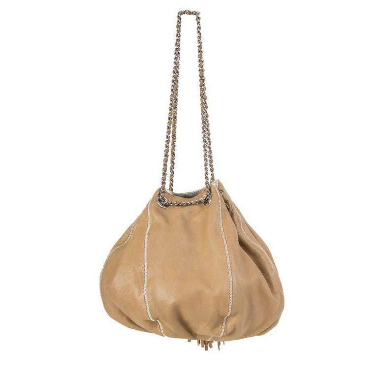 d2ef68dd7e7d Brown Chanel beige leather & white satin REVERSIBLE TASSEL SMALL BUCKET Bag  For Sale