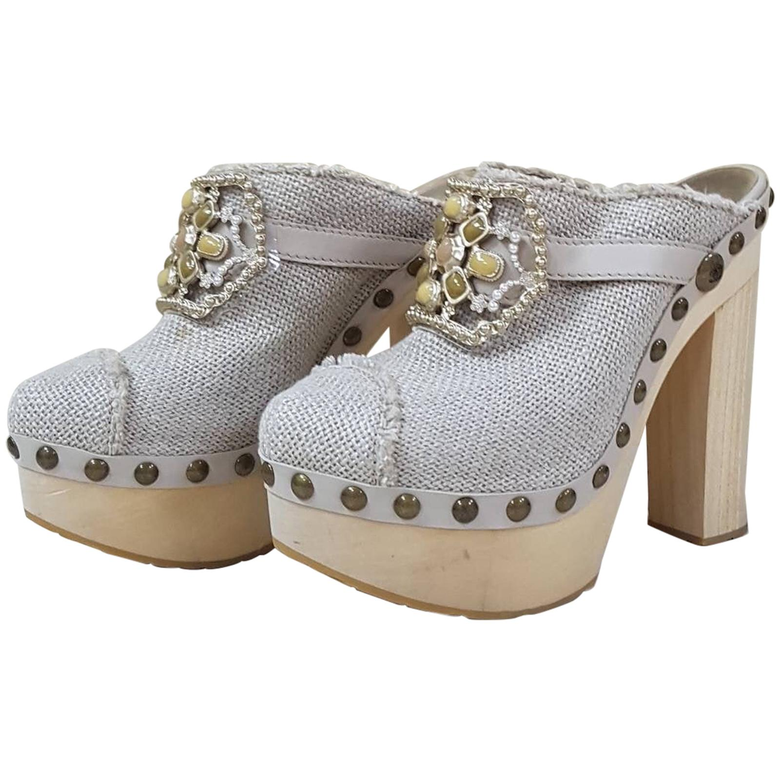 Chanel Beige Linen 10P Runway Jeweled Cabachon Crystal Pearl Clog
