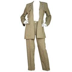 Chanel Beige Leinen Jacke/Hose Anzug Set Sz 40