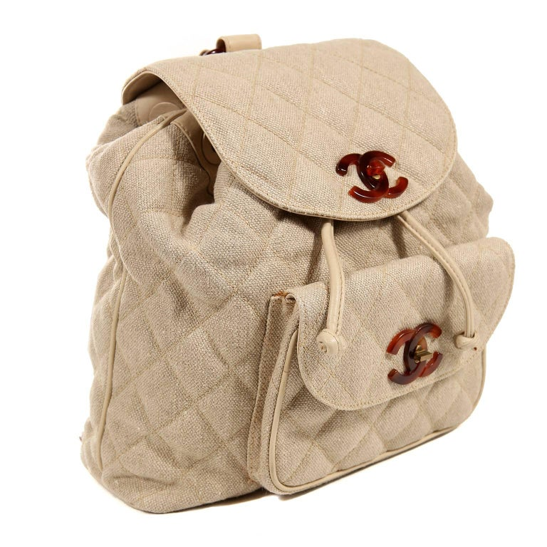 8db5b6462e24 Chanel Beige Linen Quilted Backpack In Excellent Condition For Sale In Palm  Beach, FL