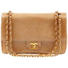 Chanel Beige Lizard Medium Classic Double Flap Vintage Bag