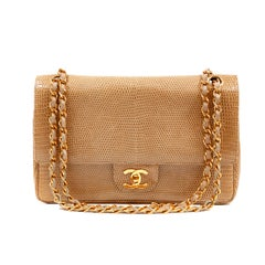 Chanel Beige Lizard Medium Classic Double Flap Vintage Bag