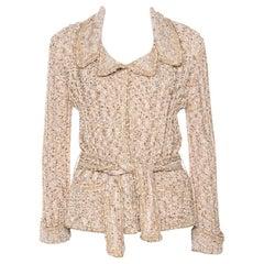 Chanel Beige Lurex Tweed Belted Cardigan L