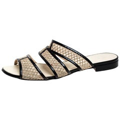 Chanel Beige Mesh And Black Leather Trim Slide Flats Size 39