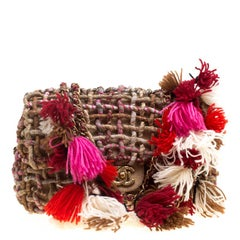 Chanel Beige/Multicolor Fabric and Canvas Pompom Flap Shoulder Bag