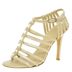 Chanel Beige Patent Bow Embellished Cage Sandals Size 36