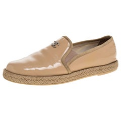 Chanel Beige Patent Leather Espadrille Slip On Loafers Size 36