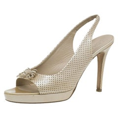 Chanel Beige Perforated Leather Butterfly Embellished Slingback Sandals Size 38.