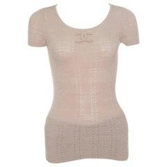 Chanel Beige Perforated Rib Knit Logo Applique Detail Fitted Top S