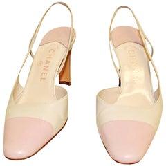 Chanel Beige & Pink Cap Toe Slingback Shoes 38 EU