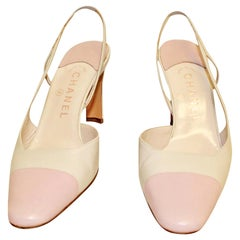 Chanel Beige & Pink Cap Toe Slingback Shoes