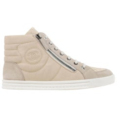CHANEL Beige Quilted Canvas Lace Up High Top Sneakers