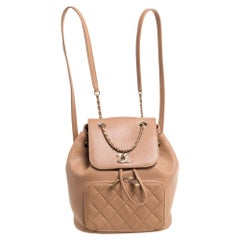 Chanel Beige Quilted Caviar Leather Business Affinity Backpack