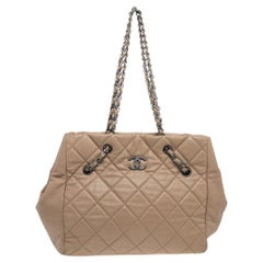 Chanel Beige Quilted Caviar Leather Cell Tote