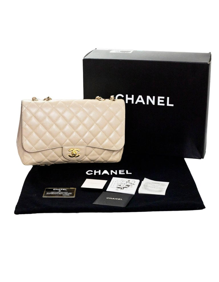 Chanel Beige Quilted Caviar Leather Jumbo Single Flap Bag with Box/Card/ DB For Sale 6