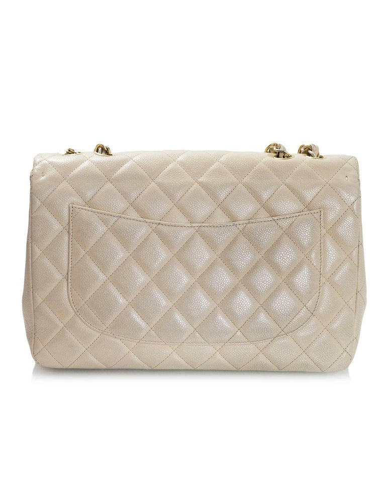 Chanel Beige Quilted Caviar Leather Jumbo Single Flap Bag with Box/Card/ DB In Good Condition For Sale In New York, NY