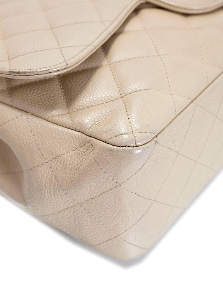 Women's Chanel Beige Quilted Caviar Leather Jumbo Single Flap Bag with Box/Card/ DB For Sale