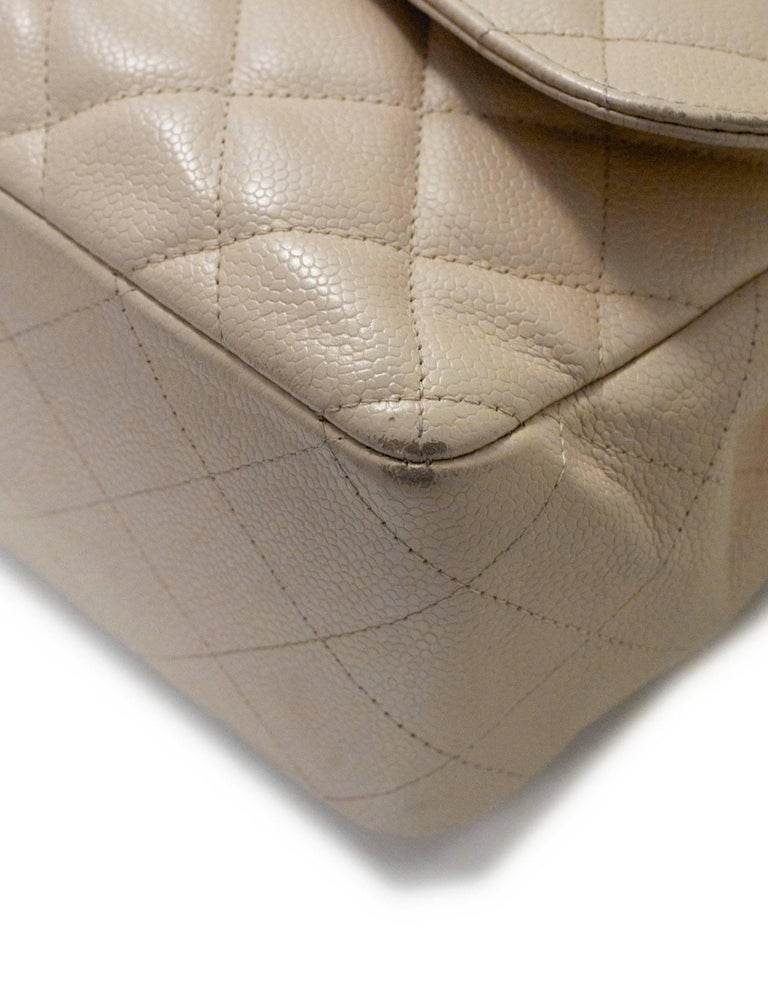 Chanel Beige Quilted Caviar Leather Jumbo Single Flap Bag with Box/Card/ DB For Sale 1