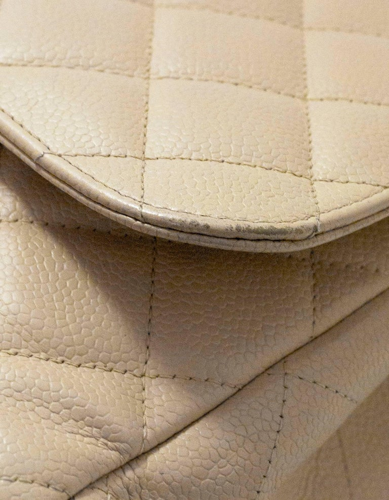 Chanel Beige Quilted Caviar Leather Jumbo Single Flap Bag with Box/Card/ DB For Sale 2