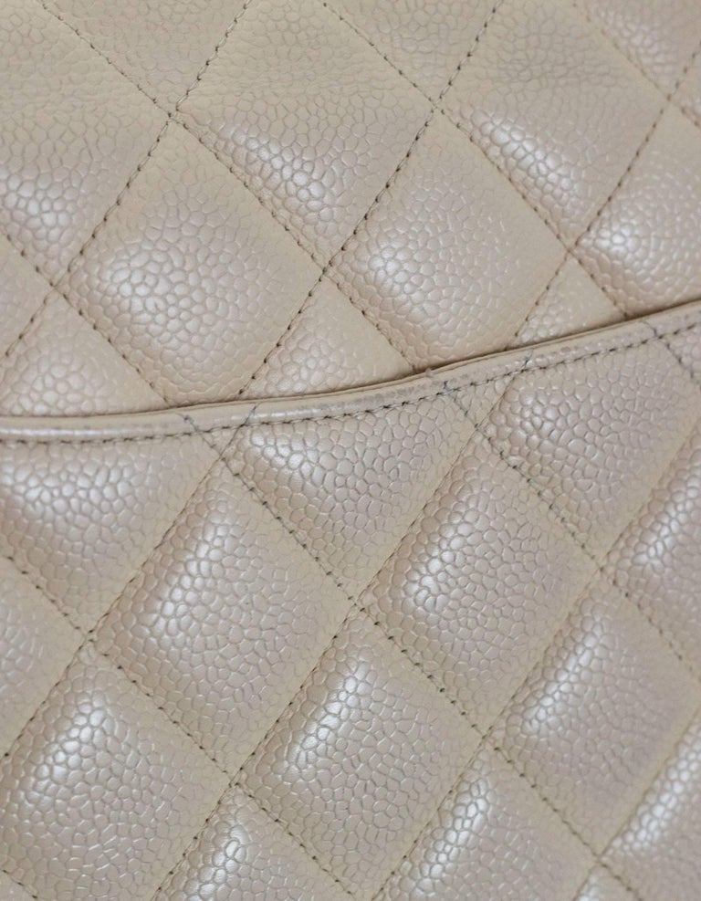 Chanel Beige Quilted Caviar Leather Jumbo Single Flap Bag with Box/Card/ DB For Sale 3
