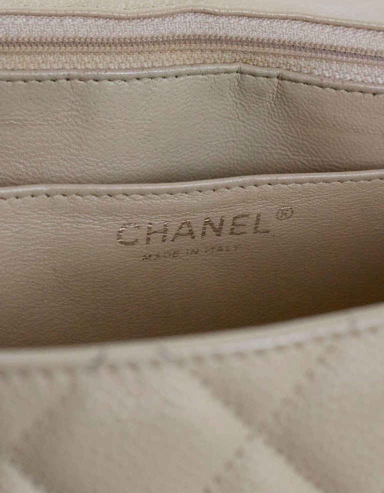 Chanel Beige Quilted Caviar Leather Jumbo Single Flap Bag with Box/Card/ DB For Sale 5