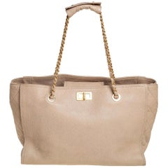 Chanel Beige Quilted Caviar Leather Reissue Tote