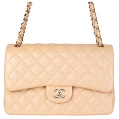 CHANEL beige quilted Caviar leather TIMELESS CLASSIC FLAP LARGE Shoulder Bag