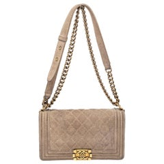 Chanel Beige Quilted Distressed Suede Medium Boy Flap Bag