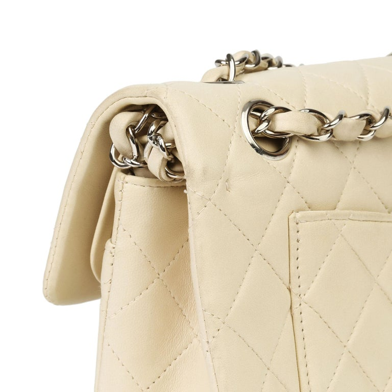 Chanel Beige Quilted Lambskin Leather Small Classic Double Flap Bag For Sale 7