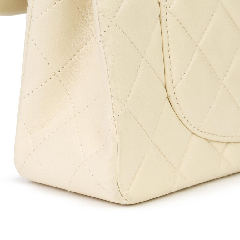 Chanel Beige Quilted Lambskin Leather Small Classic Double Flap Bag For Sale 8
