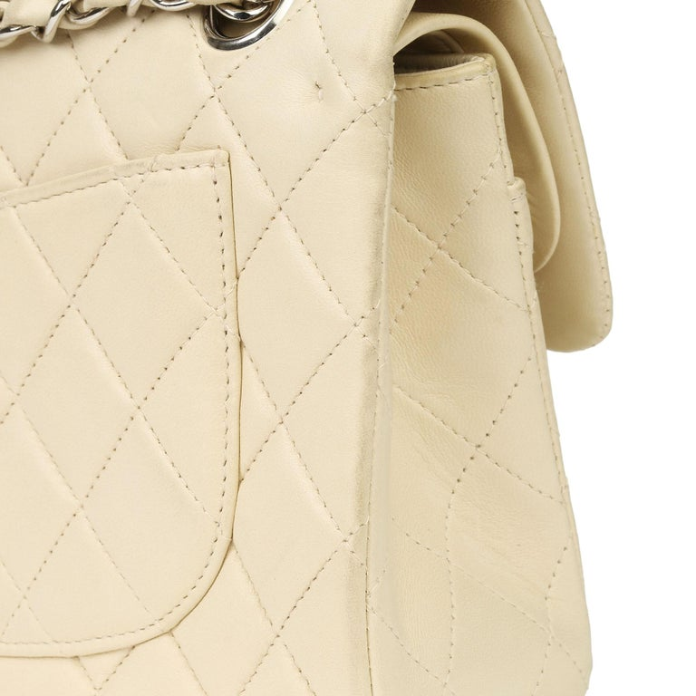 Chanel Beige Quilted Lambskin Leather Small Classic Double Flap Bag For Sale 9