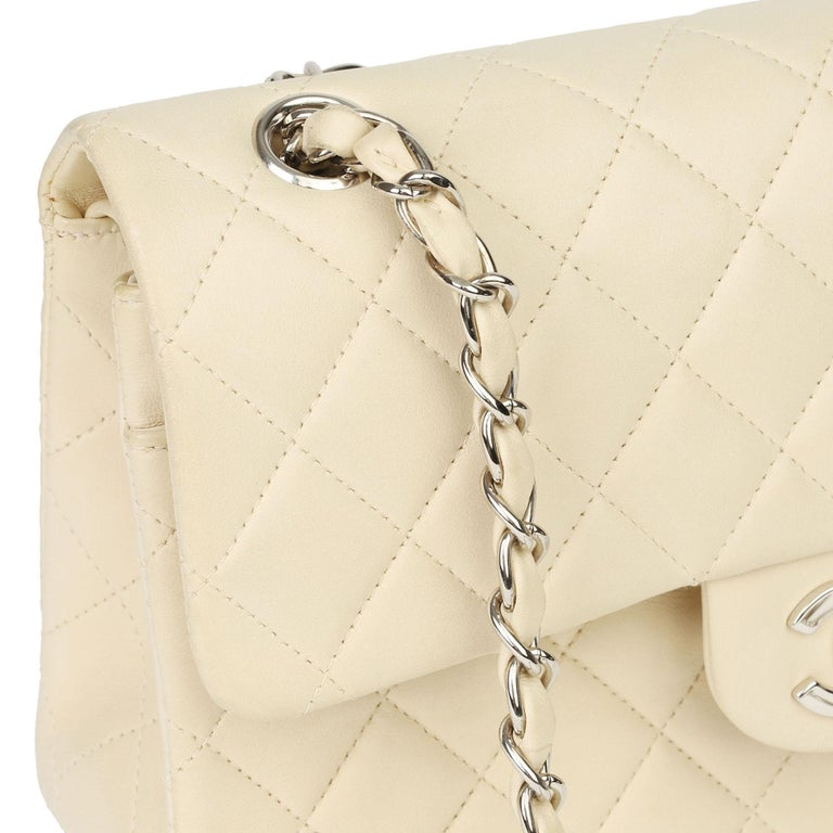 Chanel Beige Quilted Lambskin Leather Small Classic Double Flap Bag For Sale 10
